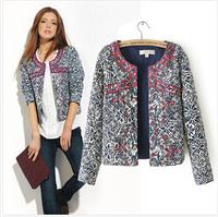 2014 new autumn Winter casual style retro print blue and white round neck jacket women blazer women embroidery slim outwear