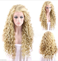 22inch classic blonde wig Girl's Fashion small Curly wave Full Hair With Middle part Bangs Fluffy Hair Wigs