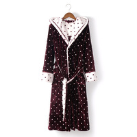 Women's Sleep Hooded Nightgown Bathrobes Lungewear Robes Polka Dot Long Pajamas