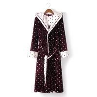 Women's Sleep Hooded Nightgown Bathrobes Lungewear Robes Polka Dot Long Pajamas
