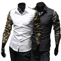 Hot Mens Stylish Long Sleeve Slim Fit Dress Shirts Tops Black White L XL XXLFree&Drop Shipping