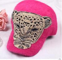 The new autumn and winter fur hat female leopard head cap winter baseball cap
