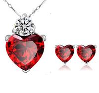Wholesale (12 sets/lot) Sincere Heart Pomegranate Balas Zircon Pendant Jewelry Set Women's Wedding Gift