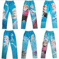Free Shipping Spring Autumn New 2014 Baby Frozen Leggings Kids Frozen Pants Kids Trousers 5pcs/lot