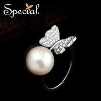 Special Fashion  Septeber New Arrival Adjust Ring Original Smart Natural Pearl Free Shipping Gifts For Wedding Women JZ14A09160