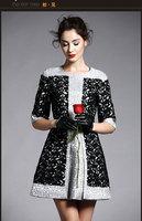 Free Shipping 2014 Spring Summer Fashion Runway New European 3/4 Sleeve Key Embroidery Retro Print Dress