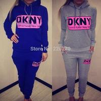 p$kris' new 2014 autumn women clothing set DKN letter printed sport suit women 2 pieces set women fashion sweatshirt+pants NB125