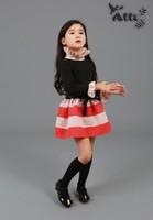 2014 Autumn Children's clothing Korean Fall Dresses High Flounced Collar Striped Dress