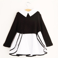2014  New Fall Professional Dress Korean Style Stitching Patchwork Children's Clothing Girls Dress