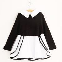 2014  New Fall Professional Dress Korean Style Stitching Patchwork Children's Clothing Girls Dress