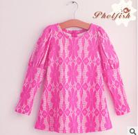 2014 New Girls Dress Autumn Children's clothing cute Lace long sleeve 2 colors dresses