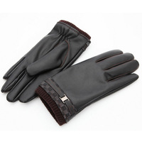 2014 New Men's Black washable leather Telefingers Winter Gloves warmer Fashion Gift High quality For Sale