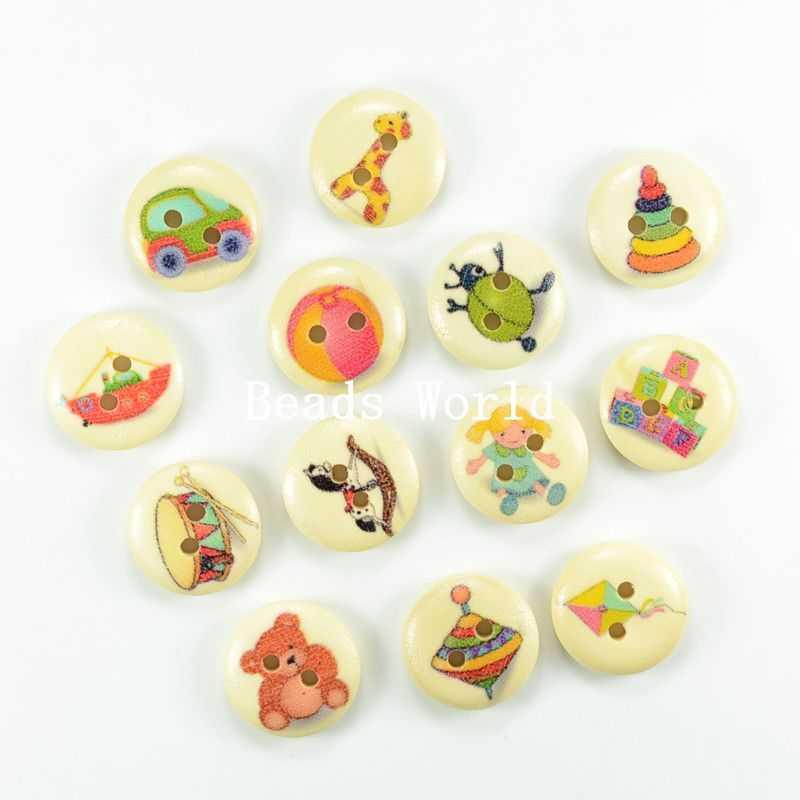 100 odun dikiş düğmeleri scrapbooking 2 delik karışık sevimli çocuk oyuncakları desen 15mm( w04047 x 1)(China (Mainland))
