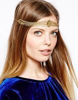 Free Shipping Bohemia diamond hairband metal hairband New geometric hairband gold plated head chain