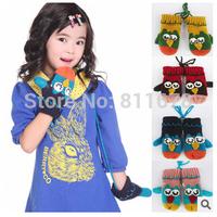 The new children's owl han edition cartoon gloves Thickening and velvet belt hang rope warm gloves