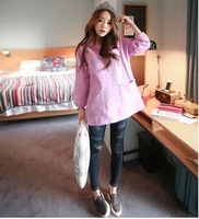 2014 Women's Han edition autumn new fund loose big yards long set in the head tide cotton coat round collar fleece