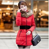 New 2014 Winter Jacket Thicken Slim Female Raccoon Fur Collar Long Coat Women Parka Winter Coat Plus Size