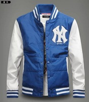2014 Sports Fashion Stand Collar Male Slim Patchwork Sleeve Baseball Jacket Thick Winter Outerwears