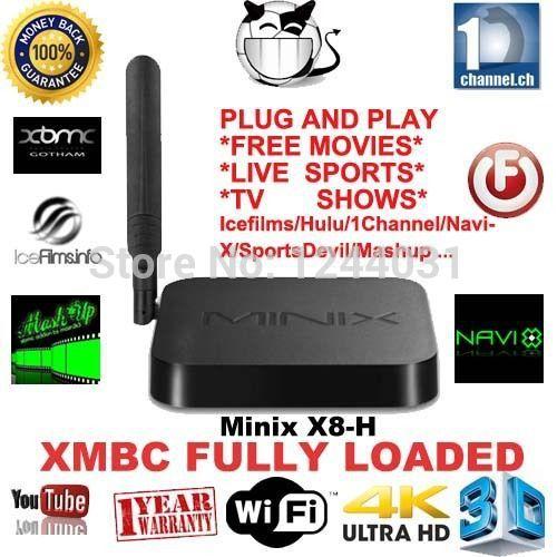 minix neo x8 x8-h x8h amlogic s802 quad core android 4.4 smart tv receptor caixa media player 2g/16g xbmc dual band wi-fi()