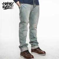hardlyevers Harajuku retro hole wear white tide male red ear denim jeans Washed Jeans Men