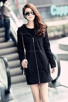 2014 New Fall Spring Female Coats Big Size 6XL Black Clothing Women Long Trench Coat