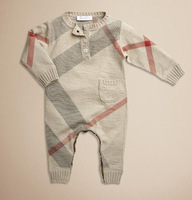 2014 New Autumn and Winter Children Clothing Boys and Girls Romper 80% wool Long Sleeve Classic Plaid infant new born 0-18M