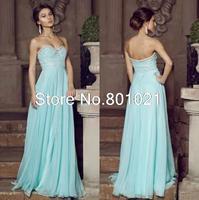Top Sale Blue Strapless Long Evening Prom Dress A-Line Sweetheart Floor Length Chiffon 2015