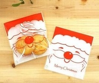 100PCS 10x14cm 10x11+3cm Father Christmas Candy Cookie Packaging Bags Self Adhesive Bag OPP Jewelry Gift Poly Plastic Bag
