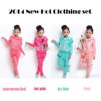 Retail 2014 Kids Cotton Suits Autumn Korean Girls Flower Clothing Set Jacket + Pant 2 Pcs Clothing Set