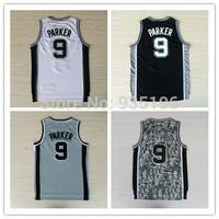 9# Tony Parker Jersey New Material Rev 30 Embroidery San Antonio Basketball jerseys size S-XXL Retail/Wholesale Free Shipping