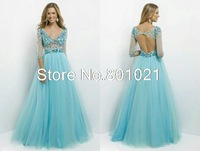 Discount Blue V-Neck Beading Backless Ball Gown Long Full Sleeves Tulle Evening Formal 2015 Prom Dress