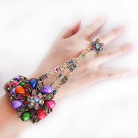 2014 New Fashion Luxury Wedding Bracelets Bangles Vintage Gold Plated Hand Chain Ring Bracelet # FL-B457