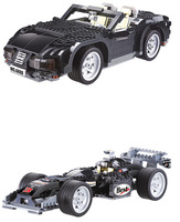 Free Shipping KAZI 850pcs/set DIY Educational Children Assembling Sports Car Blocks Toy Set,One Set Change Two Super Car Models
