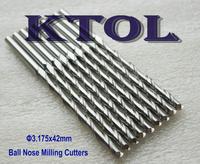 10pcs 3.175x42MM 2 Flute Carbide Ball End Mill Set 3D Engraving CNC Tools,CNC Router Bit Long End Mills Tools for Wood Engraver