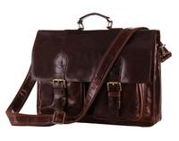 Vintage 100% Genuine real leather Men buiness handbag laptop briefcase shoulder Travel bag / man messenger JMD7105-2-320