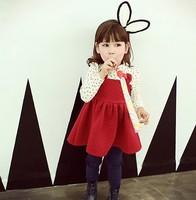 Kids 2014 Spring floral cotton long-sleeved dress Children girls plus thick velvet cute little bunny