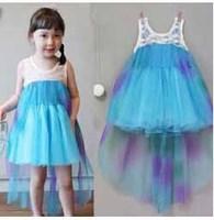 2014 New Summer Frozen Dress Princess Girls Dresses Long Fashion Lace Voile Elsa Dress Girls Full Dress 5 pieces / lot 1212