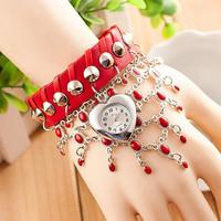 Fashion Leather Bracelet Heart Multi Pendant Women Dress Watch Quartz Watch AW-SB-1067