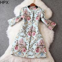 Women Retro Vintage Flower Jacquard Hidden Single Breasted Long Slim Coat,Ladies 2014 Autumn Winter New Brand European American