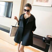 Winter fashion Neoprene windbreaker desigual pure color trench coat for women cardigans overcoat N90037