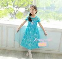 2014 New Summer Frozen Dress Princess Girls Dresses Long Fashion Sequined Girls Dress Elsa Dress 5 pieces / lot 1214