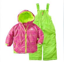2014 winter children ski suit set  girl outside sport ski suit waterproof windproof thermal kids ski suit(China (Mainland))