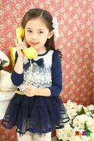 Spring 2014 new children's clothing girls dresses cotton gauze lace princess dress lace long-sleeved dress