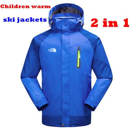 2014 NEW Brand Double Layer Windproof Waterproof snowboard clothing kids Children Outdoor jacket sports skiing winter coat(China (Mainland))