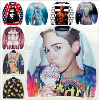 2014 New star love 3D sweatshirt miley cyrus/tupac/psy gangnam/lady gaga/bart simpson printed women hoody american apparel