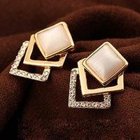 Mini Order $8.8(Mix Orders) Hot Selling Korean Style Fashion Novel Square Stud Earring FE0164