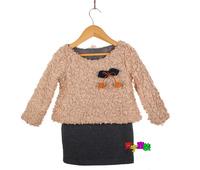 2014 autumn and winter children's clothing Spring and Autumn female baby girls dress fake two plus velvet long-sleeved dress