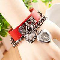 Fashion Leather Bracelet Heart Multi Pendant Women Dress Watch Quartz Watch AW-SB-1066