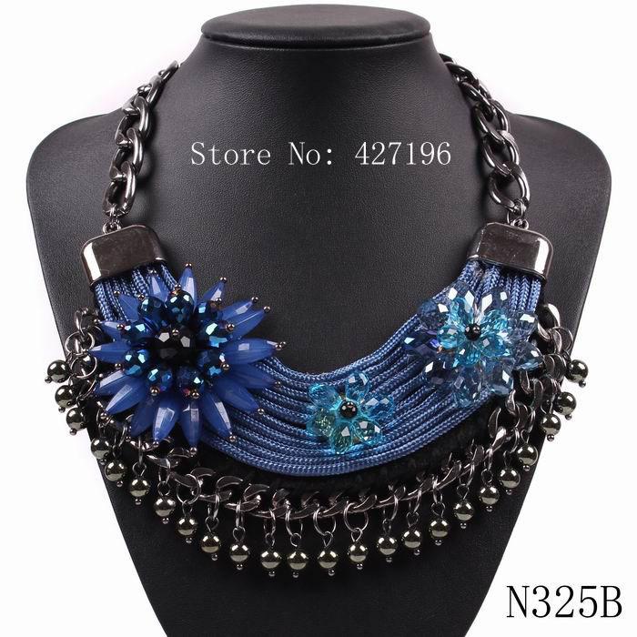 Fashion Brand Gun Black Chain Balls Cotton Rope Crystal Flower 2015 New Vintage Design Pendants Statement Necklaces for Women(China (Mainland))