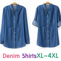 2014 New High Quality American Style Basic Roll-Up Denim Cardigan Blouse XL-XXXXL Plus Size/Tops
